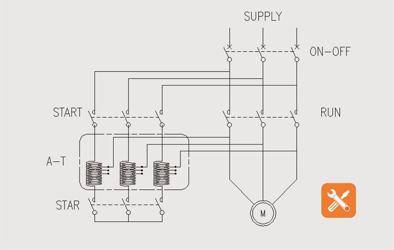 wiring diagram pengasutan motor auto transformator